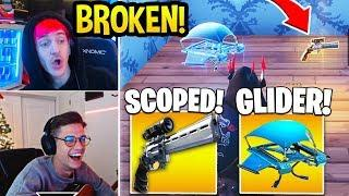 STREAMERS *SHOCKED* Using *NEW* SCOPED REVOLVER and GLIDER ITEM! - Fortnite FUNNY Moments