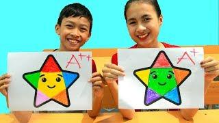 Kids go to School Learn Coloring Stars | Classroom Funny Nursery Rhymes