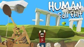 Human Fall Flat Funny Moments - Destroying Stonehenge & Using It As Ammo? - Human Fall Flat Xbox 1