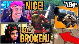 "Streamers First Time Using *NEW* ""Pirate Cannon"" Weapon! - Fortnite Funny Moments"