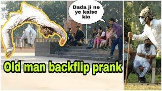 Old man backflip prank (April fool) 1st time in India and Kanpur