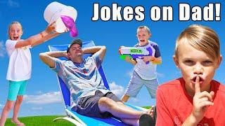 Sneaky Jokes On Our Dad! (And Spying!) Kids Fun TV