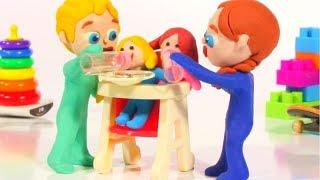 FUNNY KIDS LOVE PLAYING WITH DOLLS ❤  Play Doh Cartoons For Kids