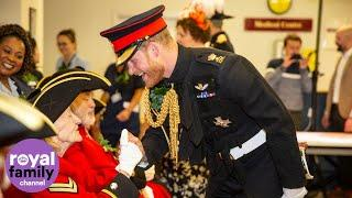 The Duke of Sussex jokes with Chelsea Pensioners at Royal Hospital