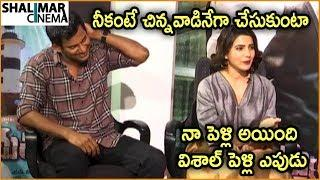 Samantha Funny Comments On Vishal Marriage || Abhimanyudu Movie Team Interview
