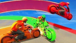 MILE HIGH TRON BIKE LASER BATTLES! (GTA 5 Funny Moments)