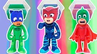 Colored bath Wrong Heads Pj Masks Learn Colors Funny video for kids