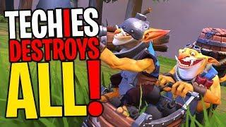 Techies Destroys ALL! - DotA 2 Funny Moments